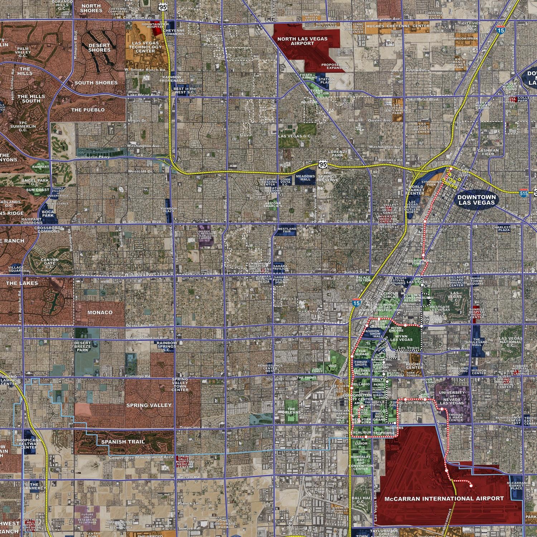 Las Vegas Aerial Wall Mural Landiscor Real Estate Mapping