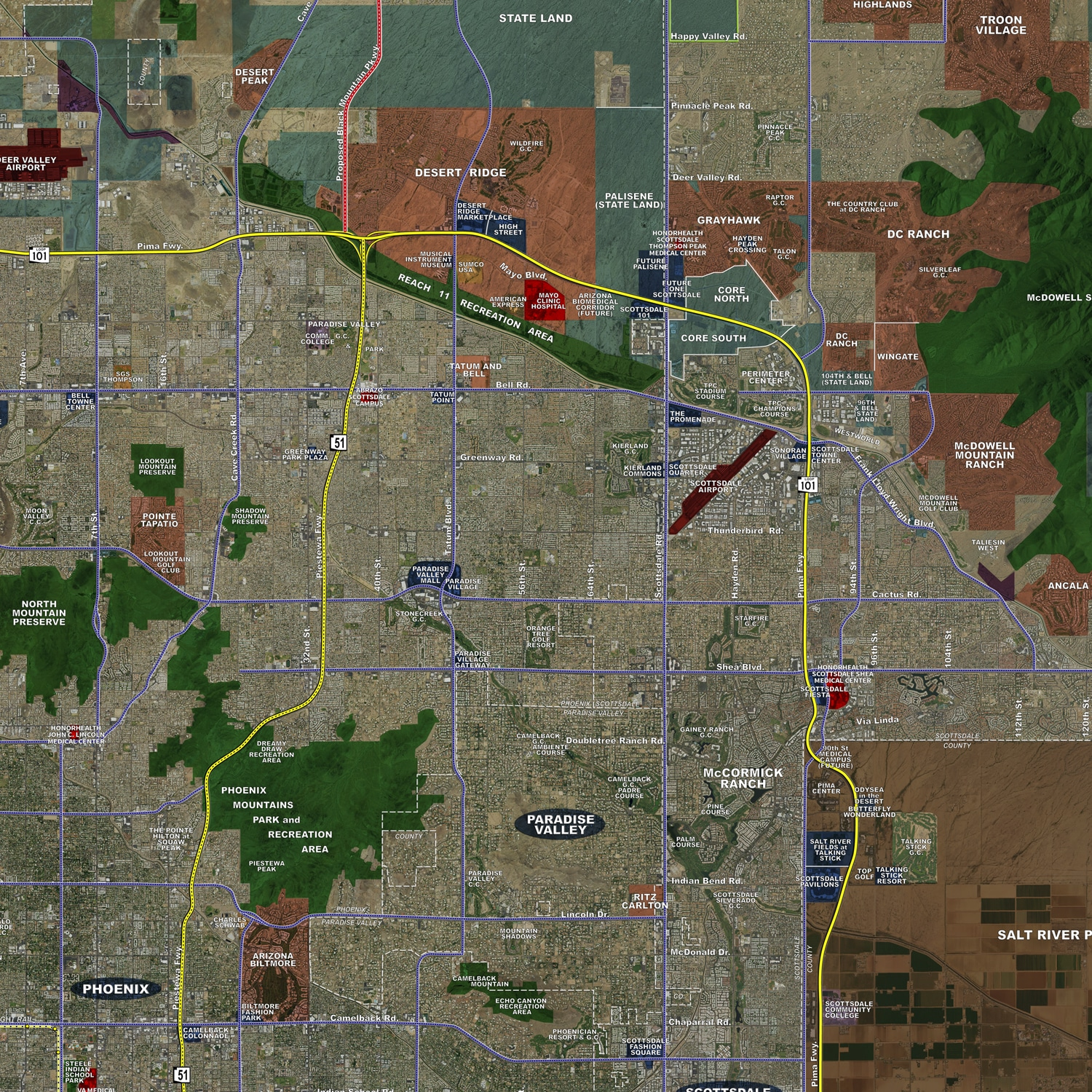 Phoenix (Standard) - Aerial Wall Mural - Landiscor Real Estate Mapping