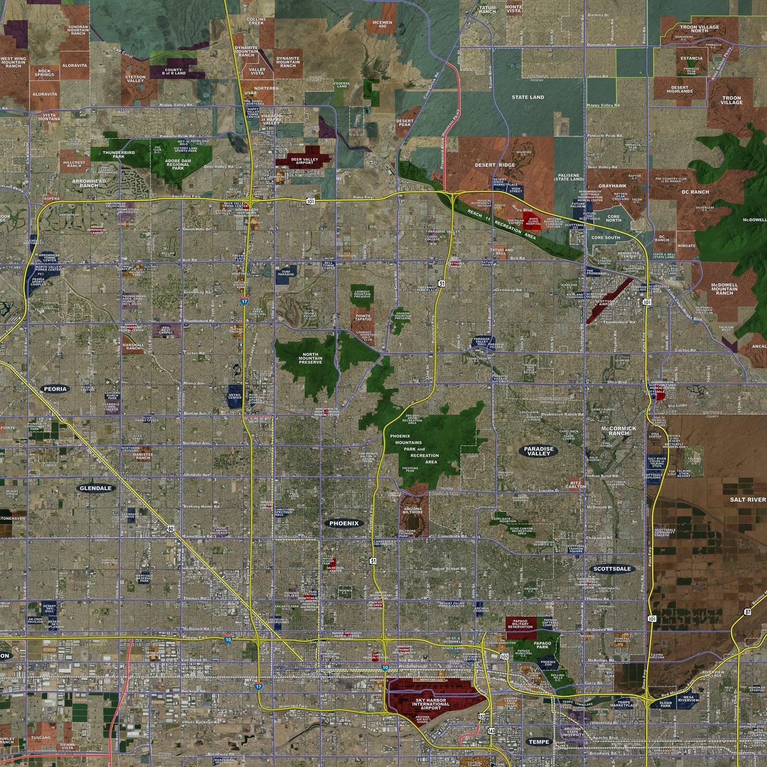 A Map Of Phoenix Arizona.Phoenix Standard Rolled Aerial Map Landiscor Real Estate Mapping