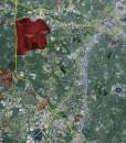 """2015 Charlotte Wall Map Mural – Standard Mini Print Scale (48""""x52"""")"""