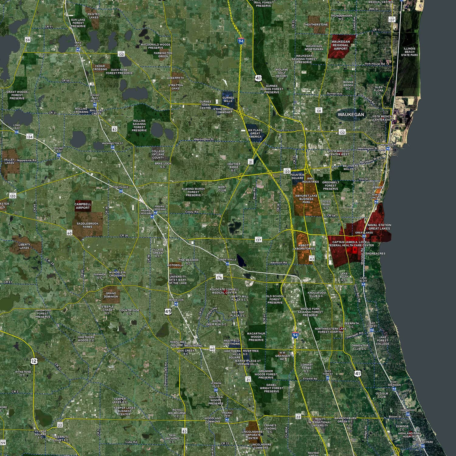 chicago aerial wall mural landiscor real estate mapping 2015 chicago wall map mural standard mini print scale 48 x62