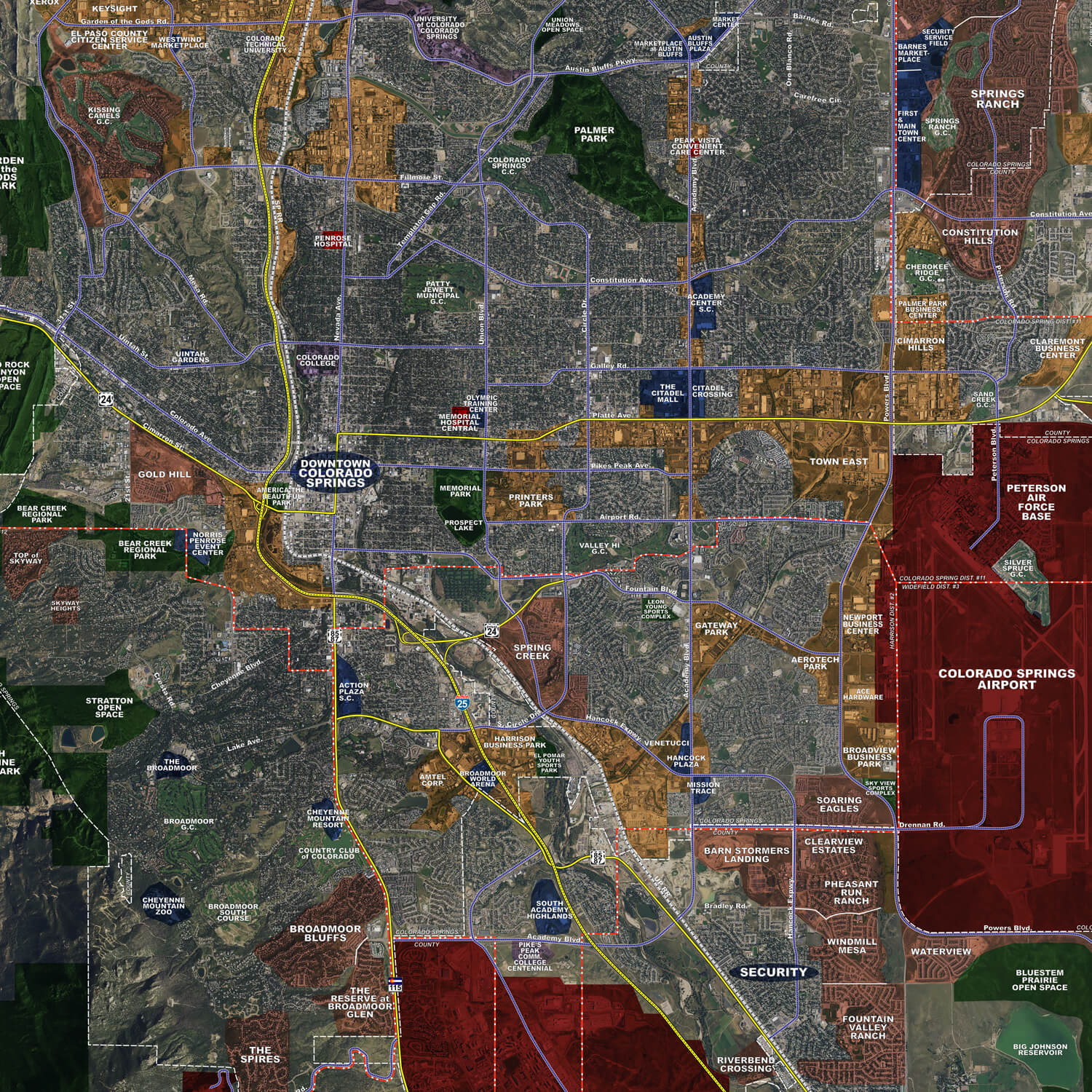 Colorado Springs Rolled Aerial Map Landiscor Real Estate Mapping