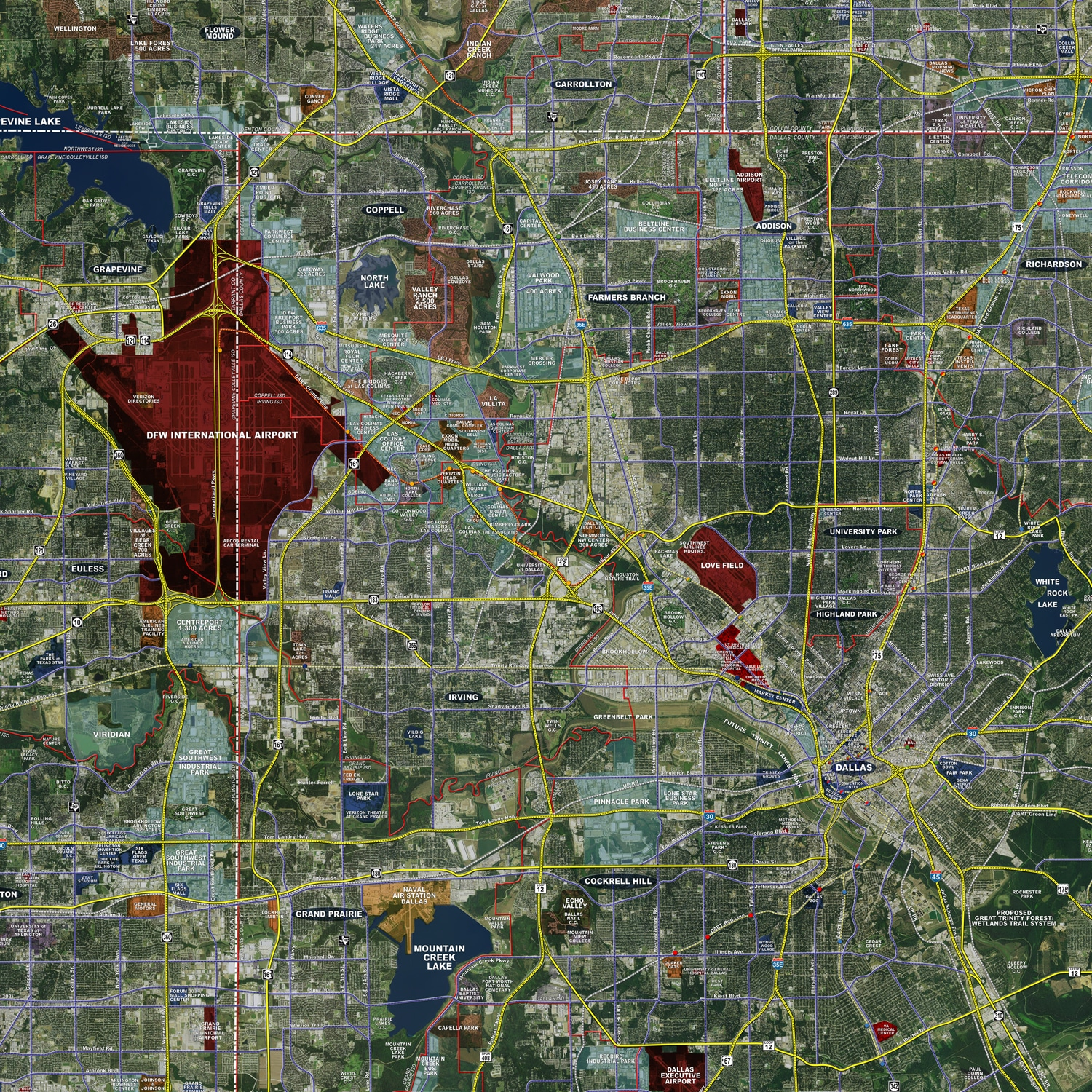 Dallas / Fort Worth (Expanded) - Aerial Wall Mural - Landiscor Real on