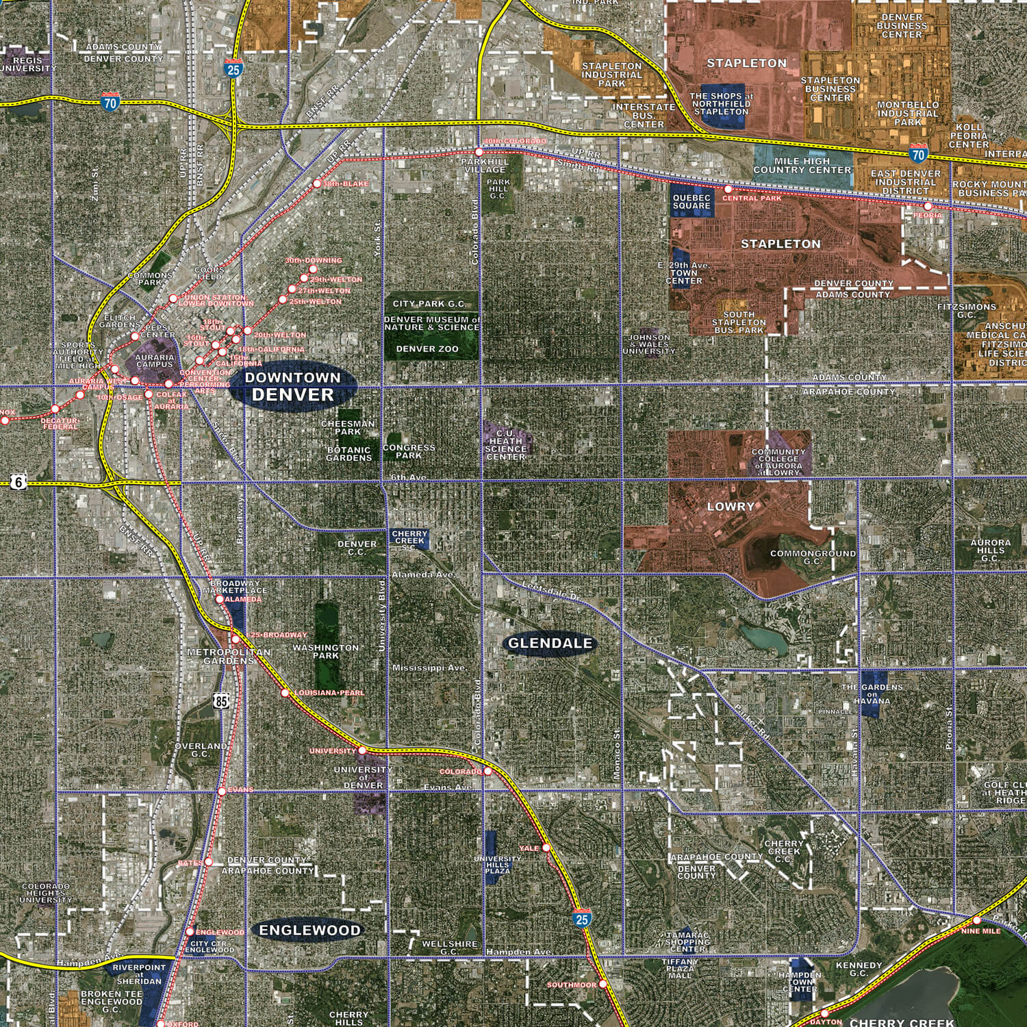 Denver Aerial Wall Mural Landiscor Real Estate Mapping