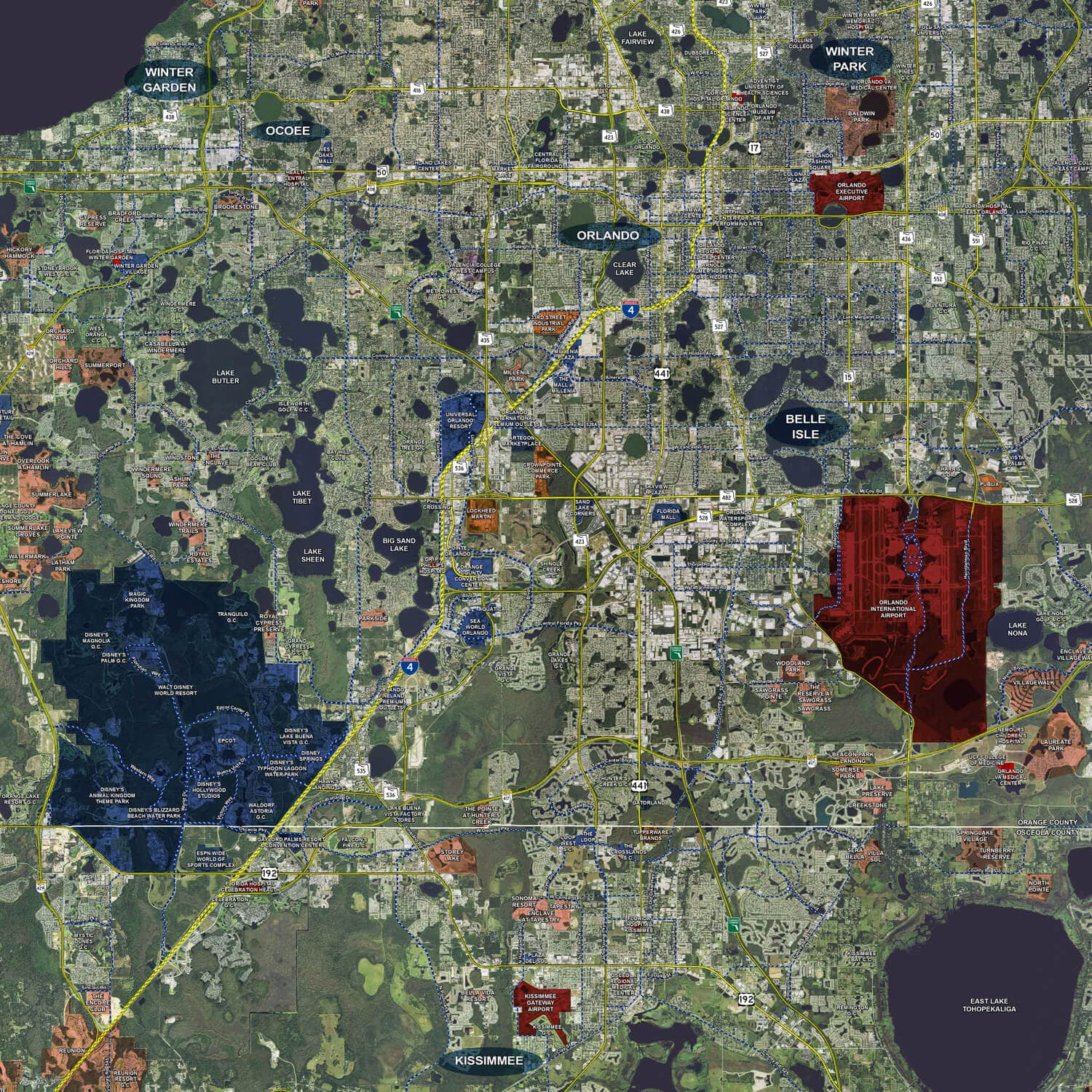 Orlando  Rolled Aerial Map Landiscor Real Estate Mapping - Map of florida orlando area