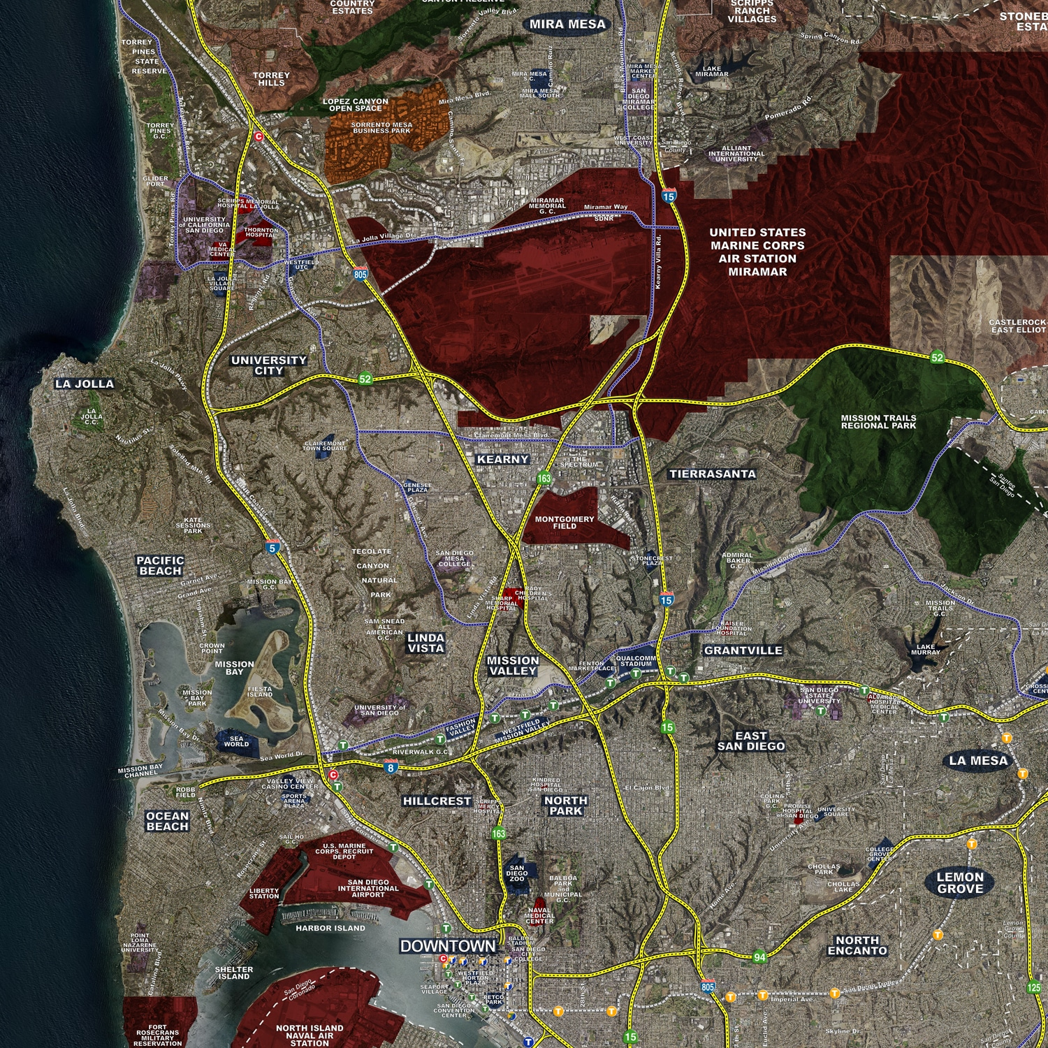 san diego aerial wall mural landiscor real estate mapping san diego from coronado island wall mural contemporary
