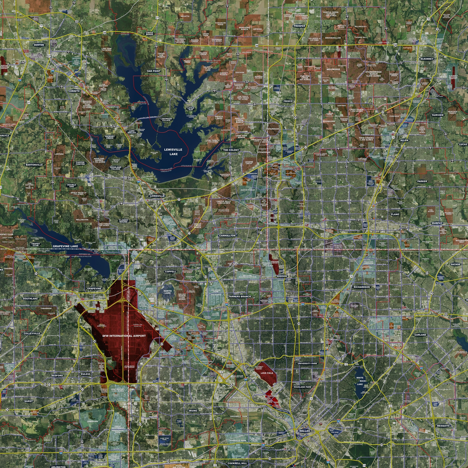 Dallas / Fort Worth (Expanded) - Rolled Aerial Map - Landiscor Real on