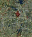 """2015 Dallas/Fort Worth Rolled Aerial Map – Poster Print Scale (34""""x27"""")"""
