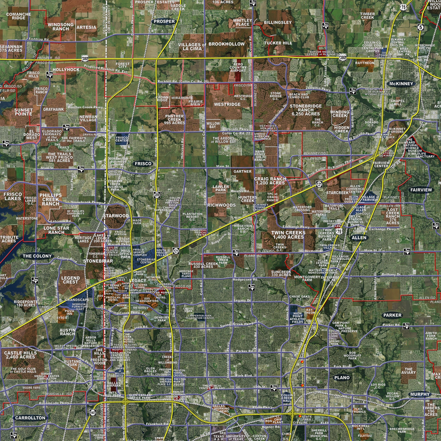 Fort Worth Dallas Map.Dallas Fort Worth Standard Rolled Aerial Map Landiscor Real