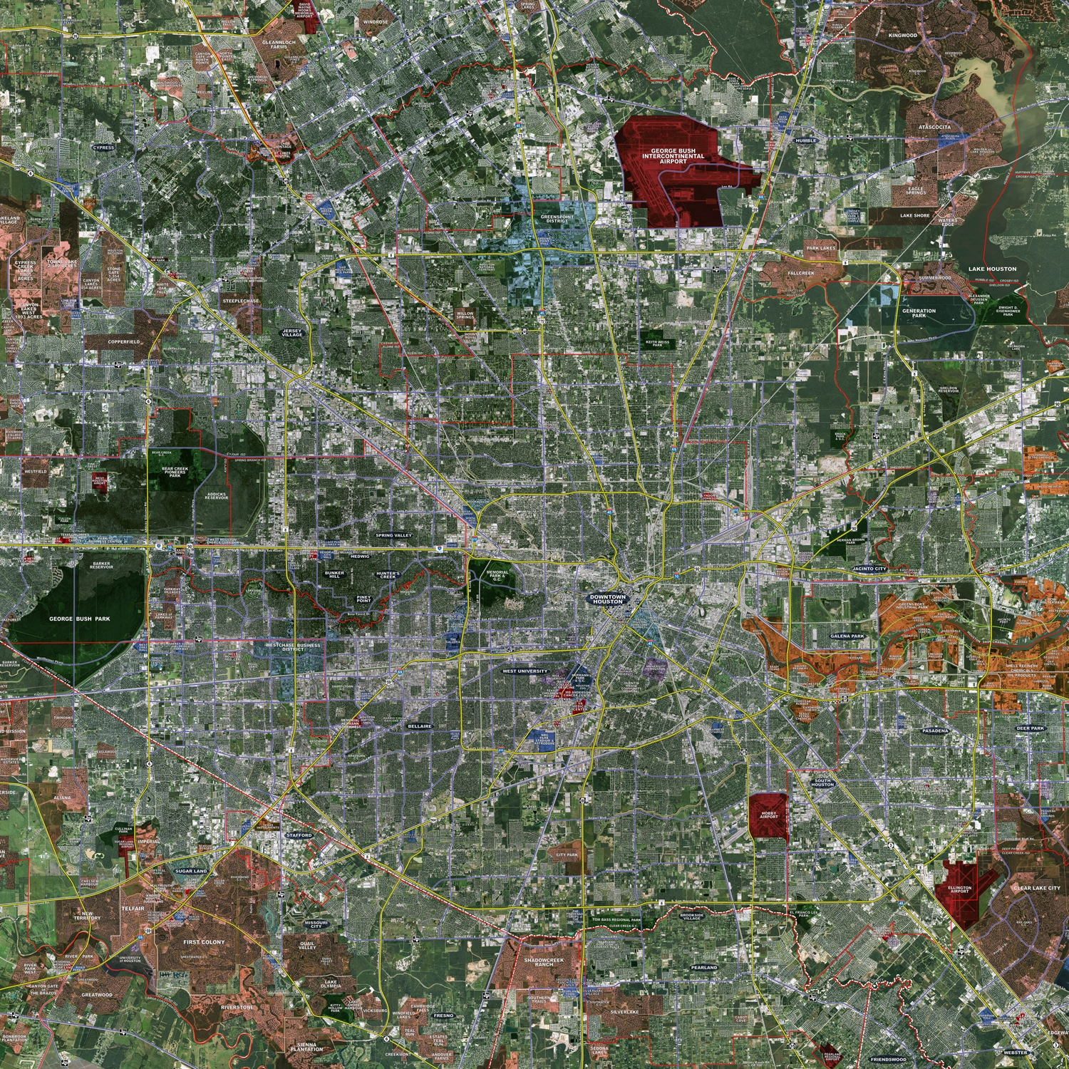 Houston Expanded Rolled Aerial Map