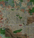 """2017 Phoenix Rolled Aerial Map – Classic Print Scale (35""""x32"""")"""