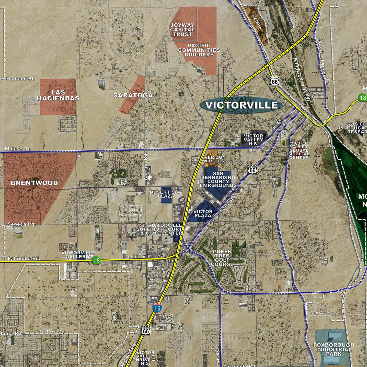 victor valley aerial wall mural landiscor real estate mapping 2015 victor valley wall map mural standard print scale 96 x90