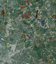 """2015 Charlotte Rolled Aerial Map – Classic Print Scale (32""""x35"""")"""