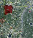 """2015 Charlotte Rolled Aerial Map – Professional Print Scale (48""""x52"""")"""