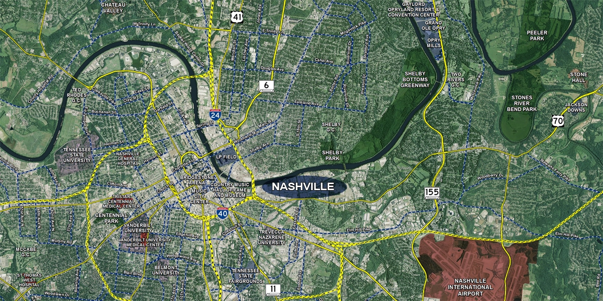 New Nashville Aerial Map Released with Extensive Market Data ...