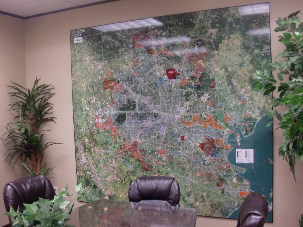2015 Houston Aerial Wall Map Mural in Conference Room