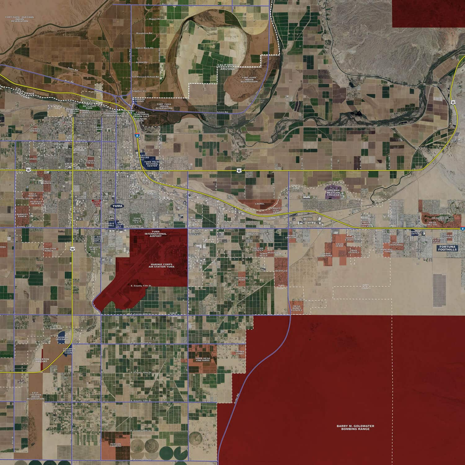 Yuma rolled aerial map landiscor real estate mapping 2016 yuma rolled aerial map poster print scale 27x29 gumiabroncs Images