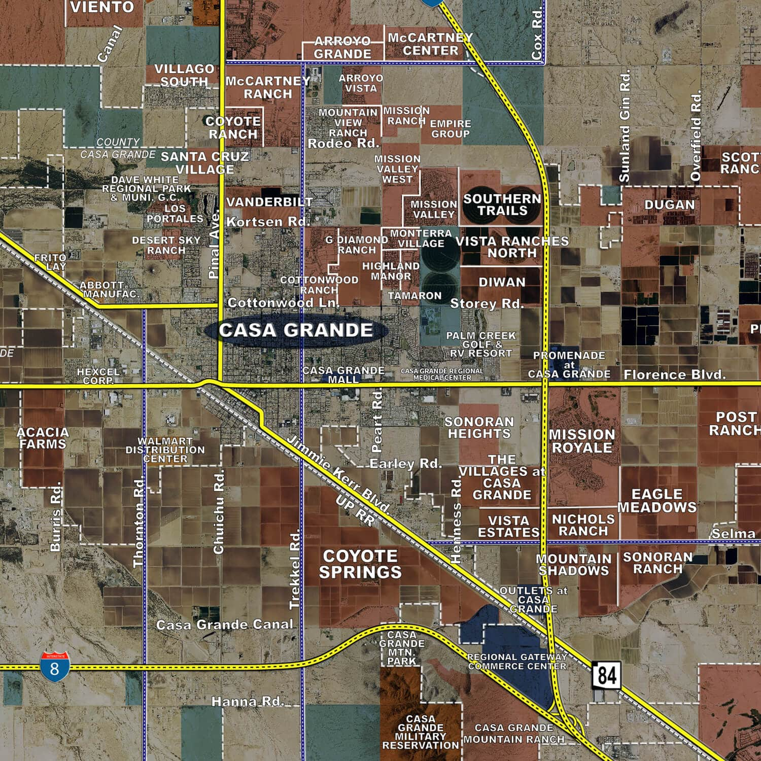 pinal county aerial wall mural landiscor real estate mapping 2014 pinal county wall map mural standard print scale 96 x81