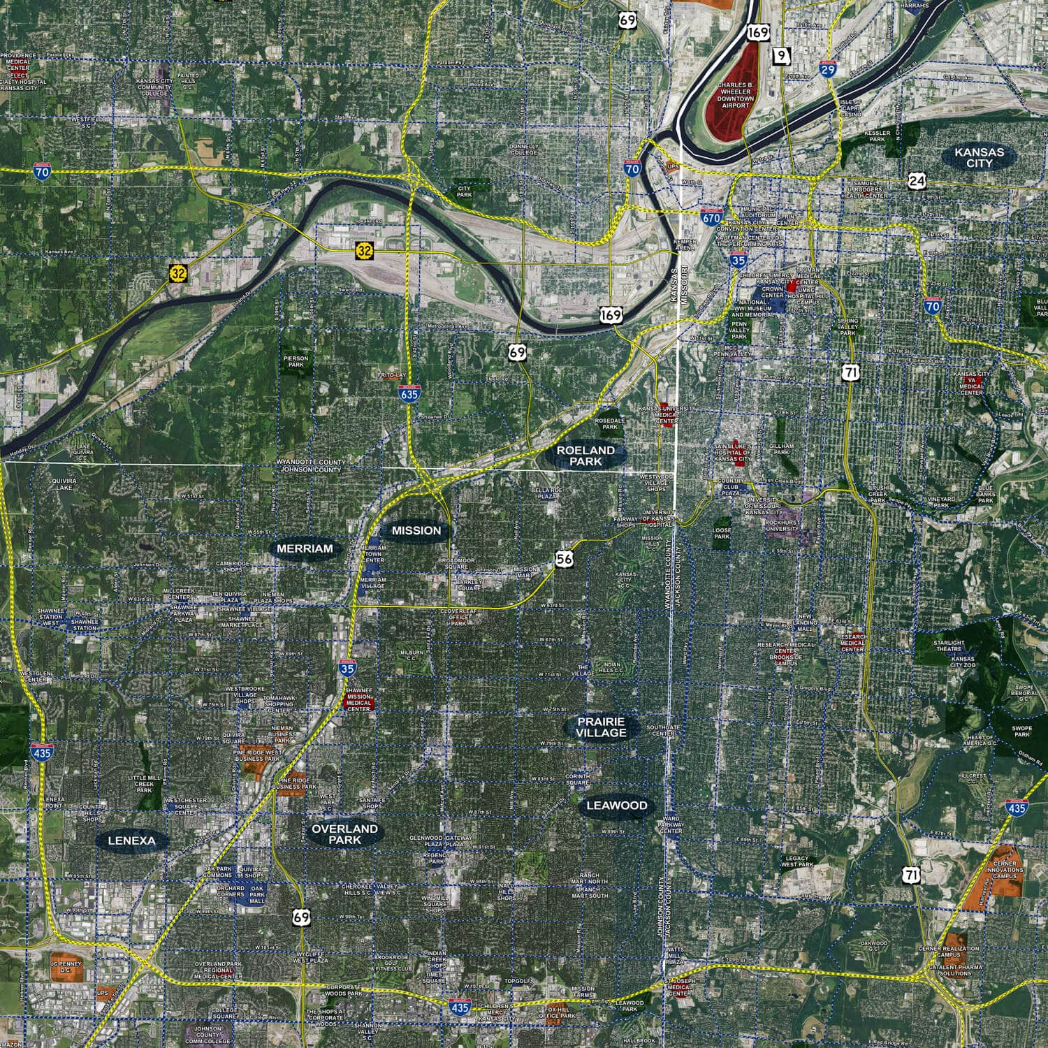 Kansas City Rolled Aerial Map Landiscor Real Estate Mapping - Kansas city map