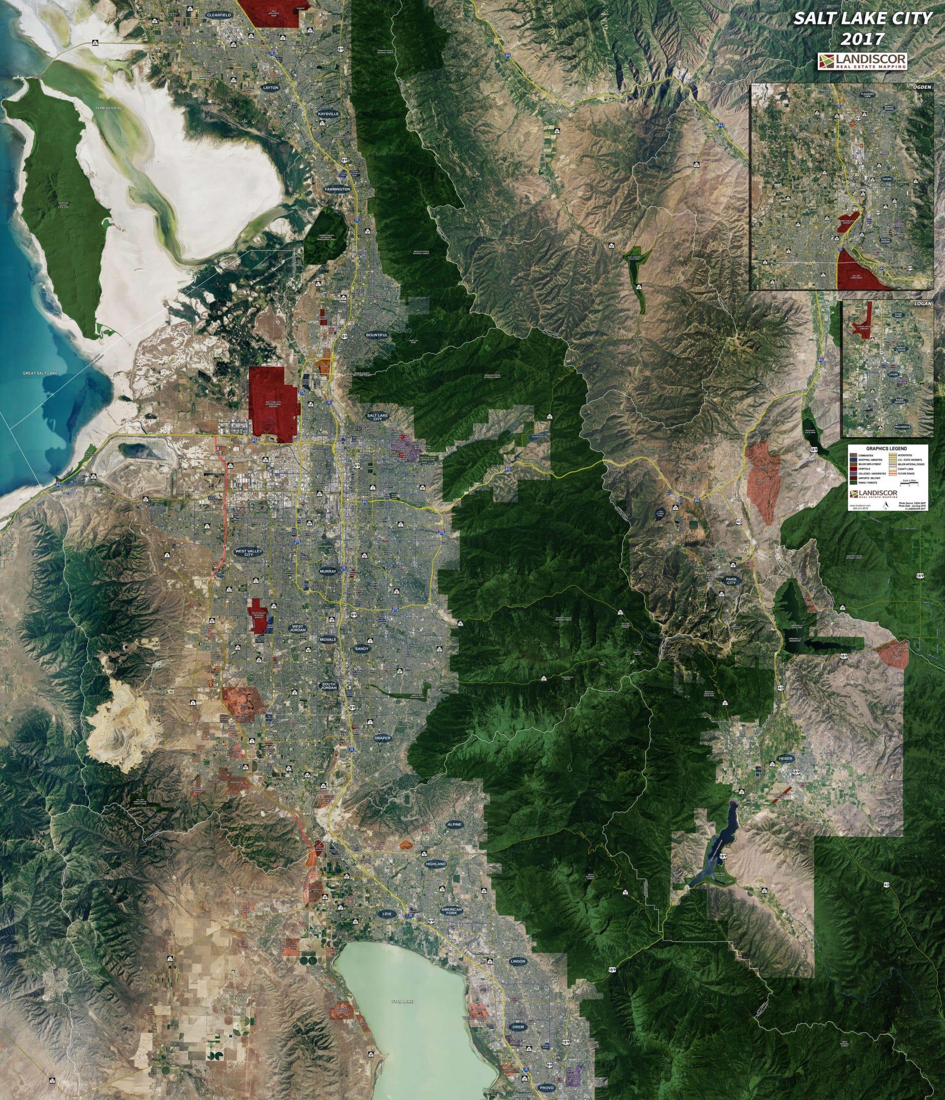 Salt Lake City - Rolled Aerial Map