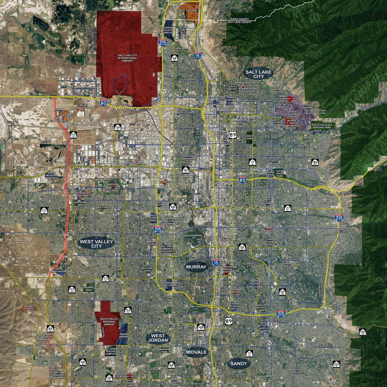 Salt Lake City - Aerial Wall Mural - Landiscor Real Estate Mapping