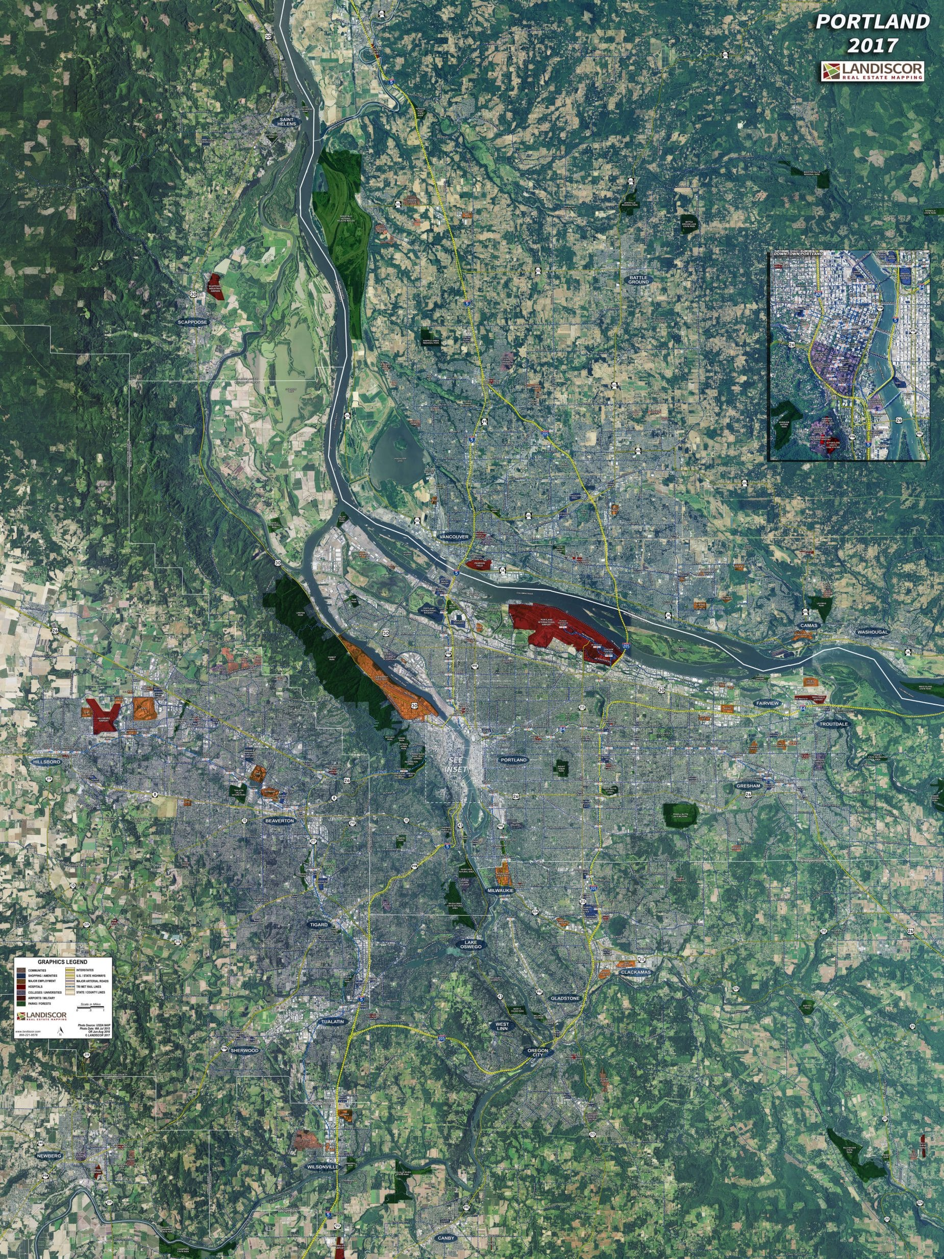 Portland - Rolled Aerial Map - Landiscor Real Estate Mapping on