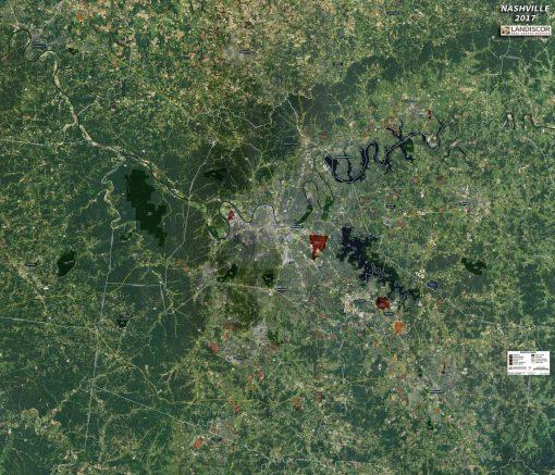 Aerial Wall Map Mural – Nashville