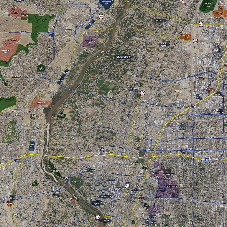 Albuquerque Aerial Wall Mural Landiscor Real Estate Mapping