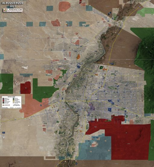Rolled Aerial Map – Albuquerque