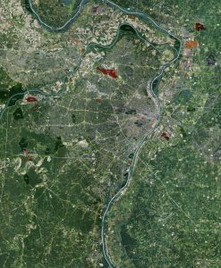 Rolled Aerial Map - St. Louis