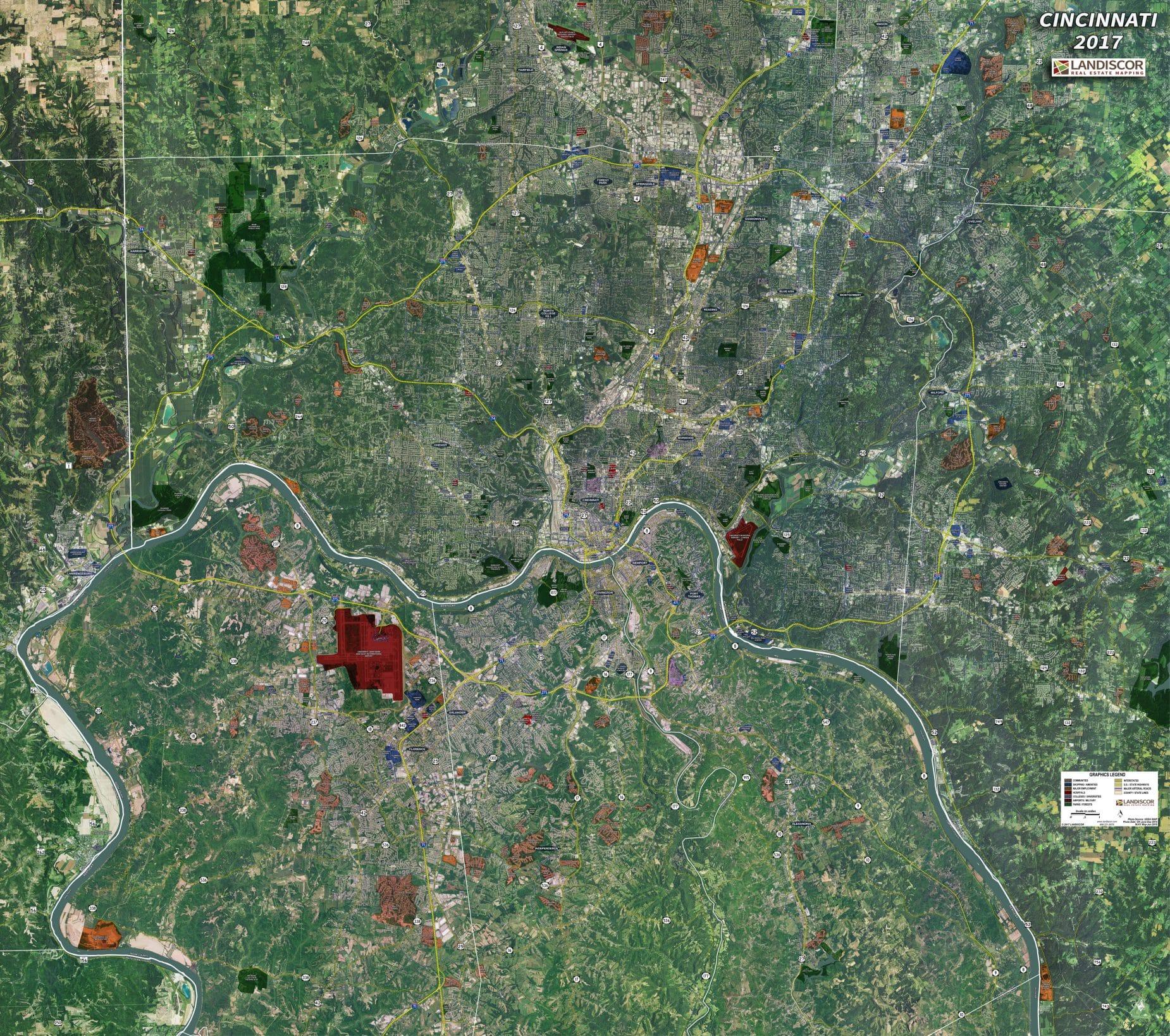 Cincinnati - Rolled Aerial Map - Landiscor Real Estate Mapping