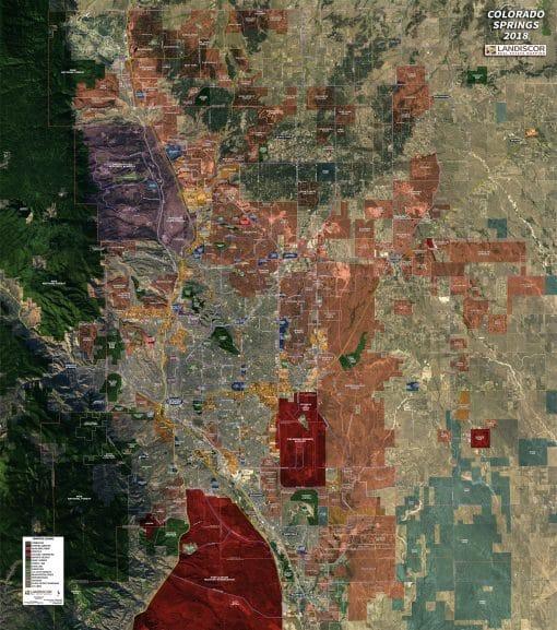 Rolled Aerial Map – Colorado Springs