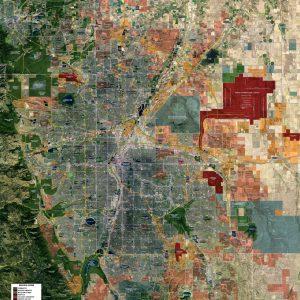 Rolled Aerial Map - Denver