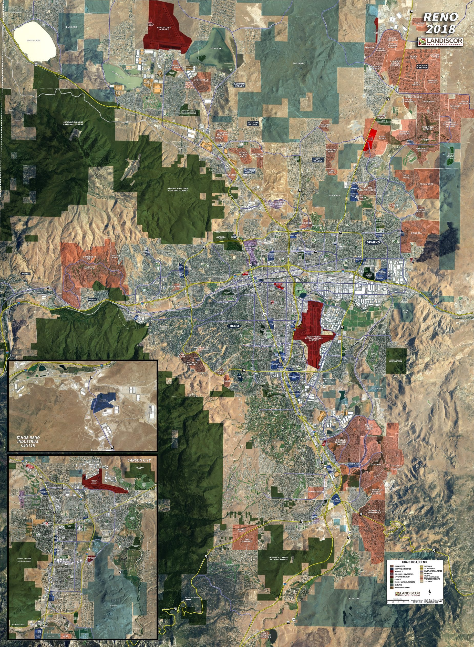 Reno Rolled Aerial Map Landiscor Real Estate Mapping
