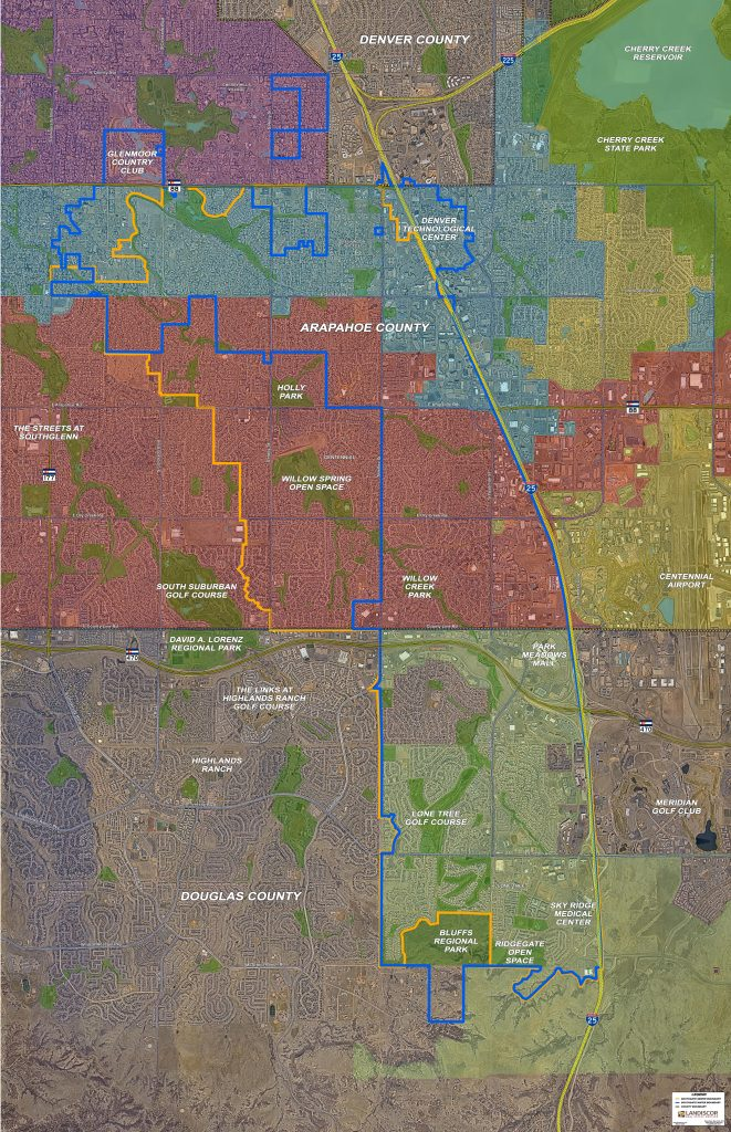 Southgate Water & Sewage District Map within the city of Centennial, CO.
