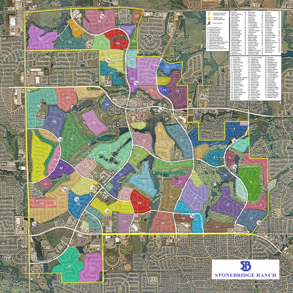 Custom mural of Stonebridge Ranch HOA in McKinney, TX.  Depicts the various neighborhoods within the association.