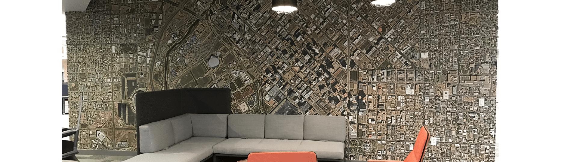 custom aerial wall mural maps