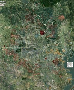 Aerial Wall Map Mural - Houston Expanded