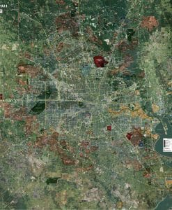 Rolled Aerial Map - Houston Standard